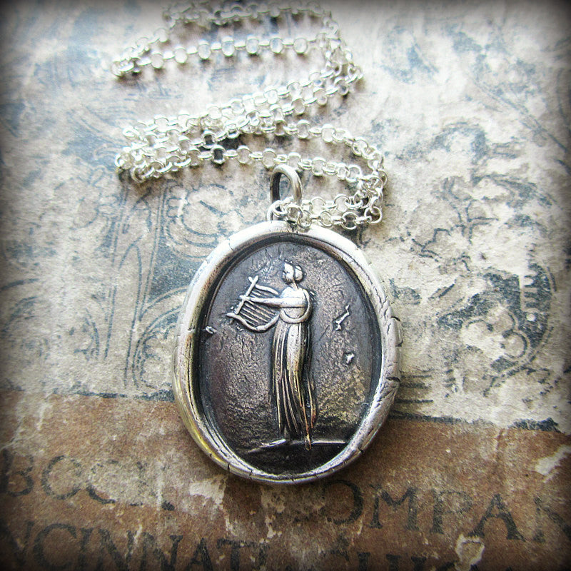 Muse of Music Wax Seal Necklace  Greek Goddess Euterpe - Shannon Westmeyer Jewelry - 2