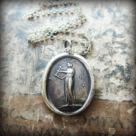 Muse of Music Wax Seal Necklace  Greek Goddess Euterpe - Shannon Westmeyer Jewelry - 1