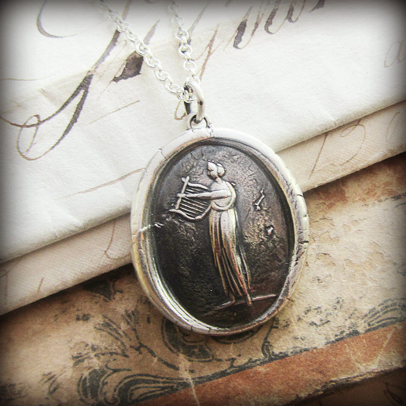 Muse of Music Wax Seal Necklace  Greek Goddess Euterpe