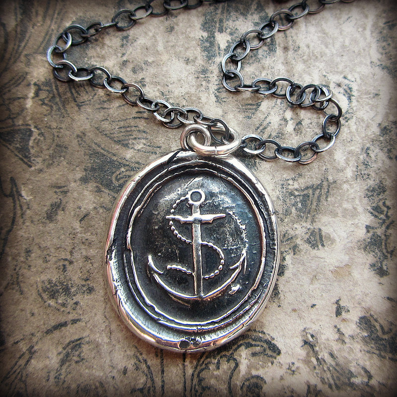 Nautical Anchor Wax Seal Necklace - Shannon Westmeyer Jewelry - 5