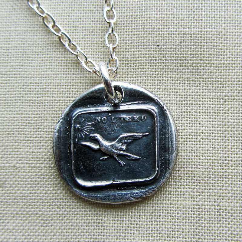 Eagle have no fear wax necklace with silver chain
