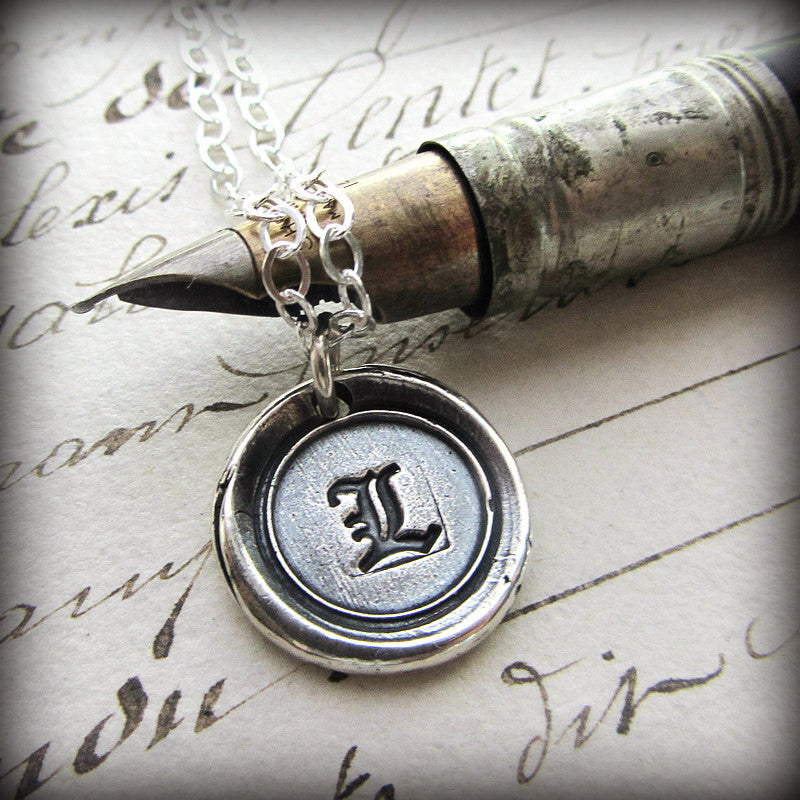 Old English Vintage Wax Seal Initial - Shannon Westmeyer Jewelry - 1