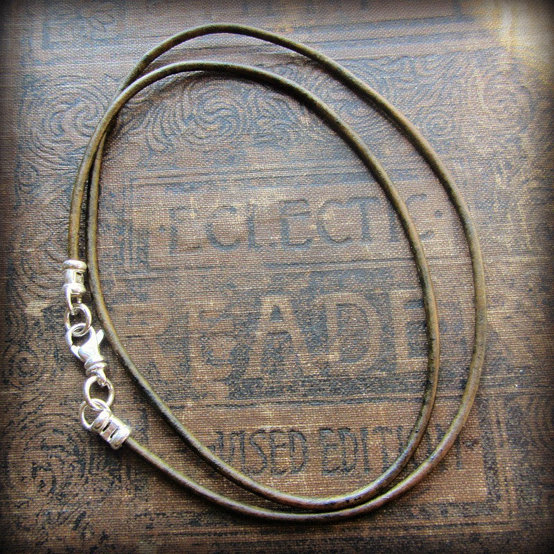 Leather Cord Necklace with Sterling Swivel Clasp - Distressed Olive Green - Shannon Westmeyer Jewelry - 1