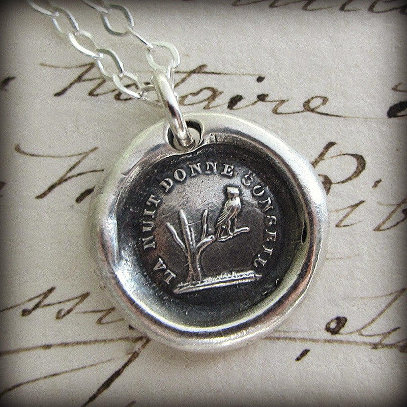Owl Wax Seal Necklace-  Knowledge and Wisdom  The night gives counsel