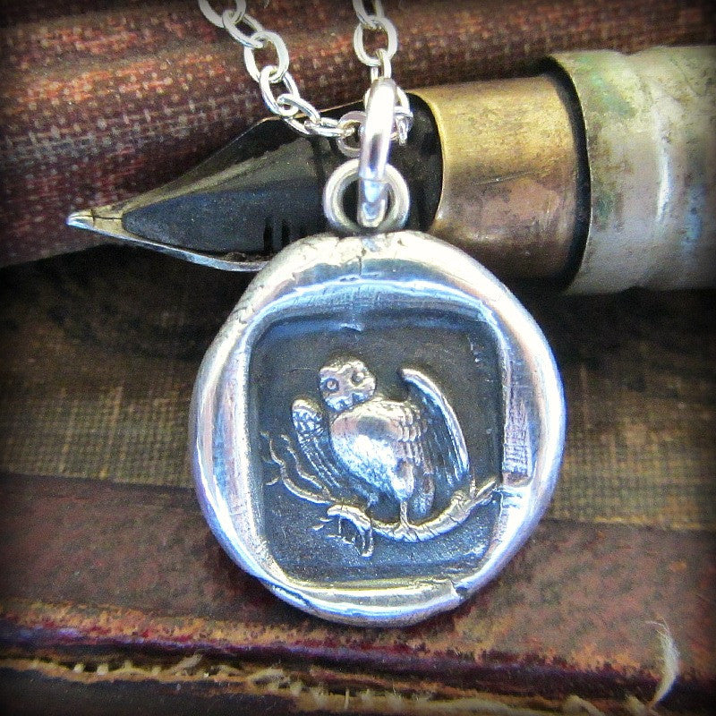 Owl Wax Seal Necklace - Wisdom, Vigilance, Mystery & Protection - Shannon Westmeyer Jewelry - 1
