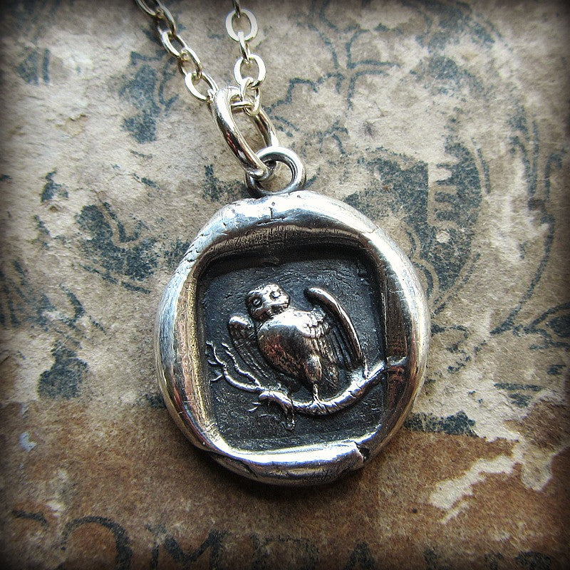Owl Wax Seal Necklace - Wisdom, Vigilance, Mystery & Protection - Shannon Westmeyer Jewelry - 4