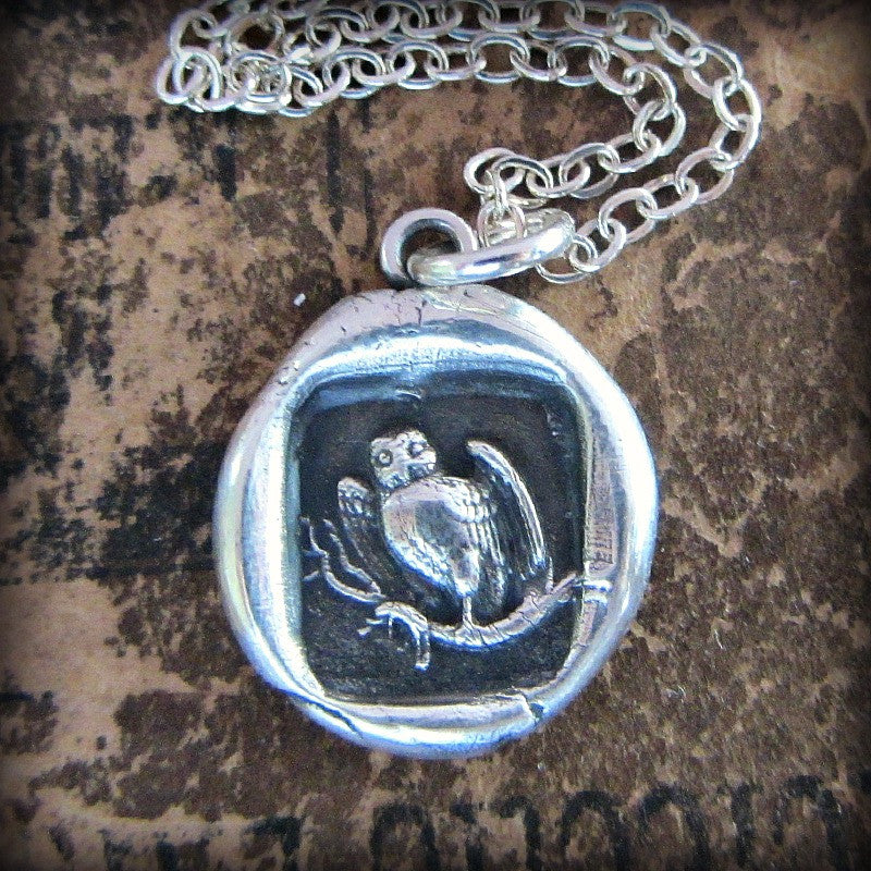 Owl Wax Seal Necklace - Wisdom, Vigilance, Mystery & Protection - Shannon Westmeyer Jewelry - 2
