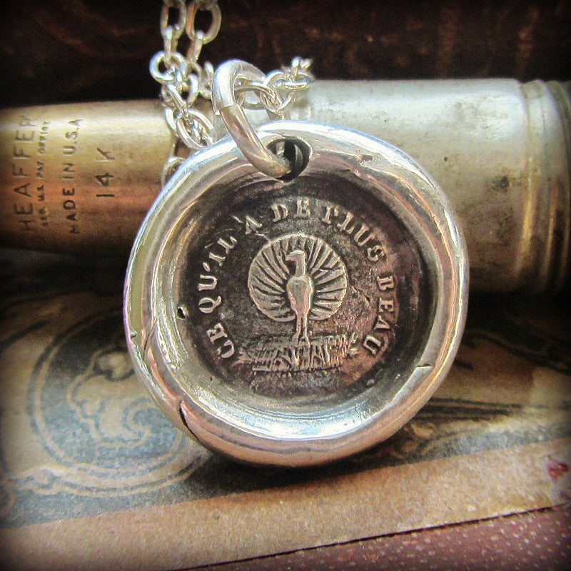 Peacock Wax Seal Necklace - Beauty, Power and Pride - Shannon Westmeyer Jewelry - 1