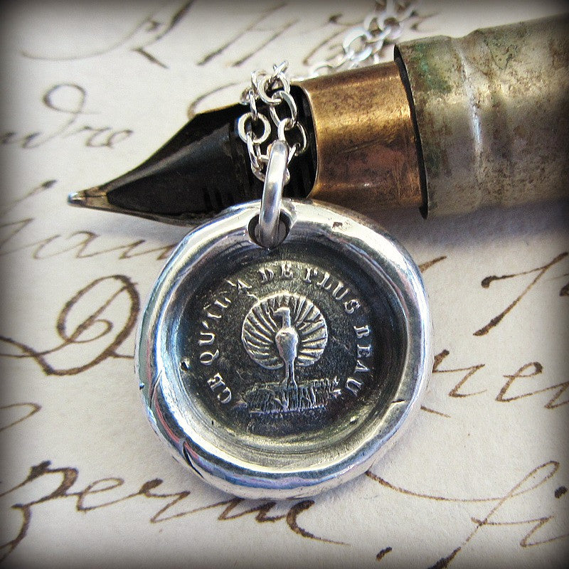 Peacock Wax Seal Necklace - Beauty, Power and Pride - Shannon Westmeyer Jewelry - 3