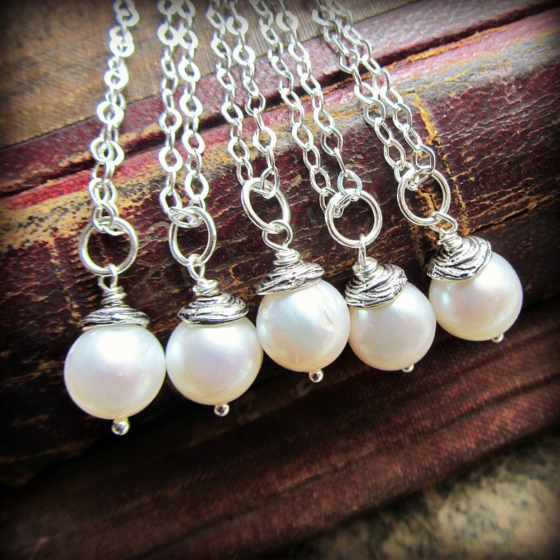 Pearl Drop Necklace - Pearl Pendant - Single Pearl Necklace - Vintage Reclaimed Pearls - Shannon Westmeyer Jewelry - 1
