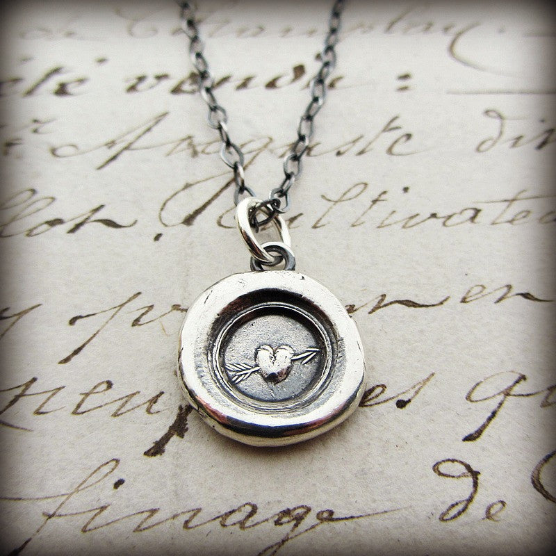 Tiny Heart Wax Seal Necklace - Shannon Westmeyer Jewelry - 1
