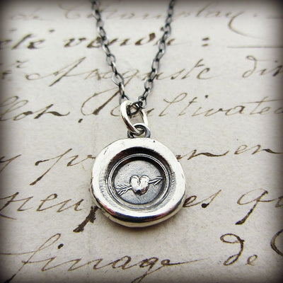 Tiny Heart Wax Seal Necklace - Shannon Westmeyer Jewelry - 2