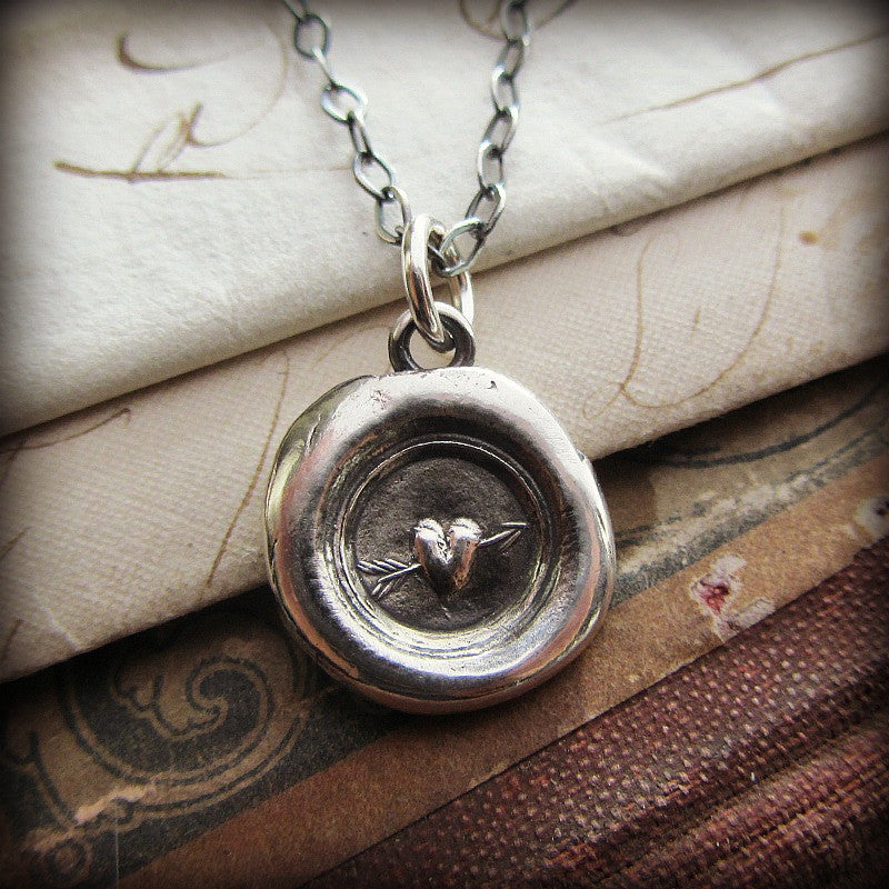 Tiny Heart Wax Seal Necklace - Shannon Westmeyer Jewelry - 3