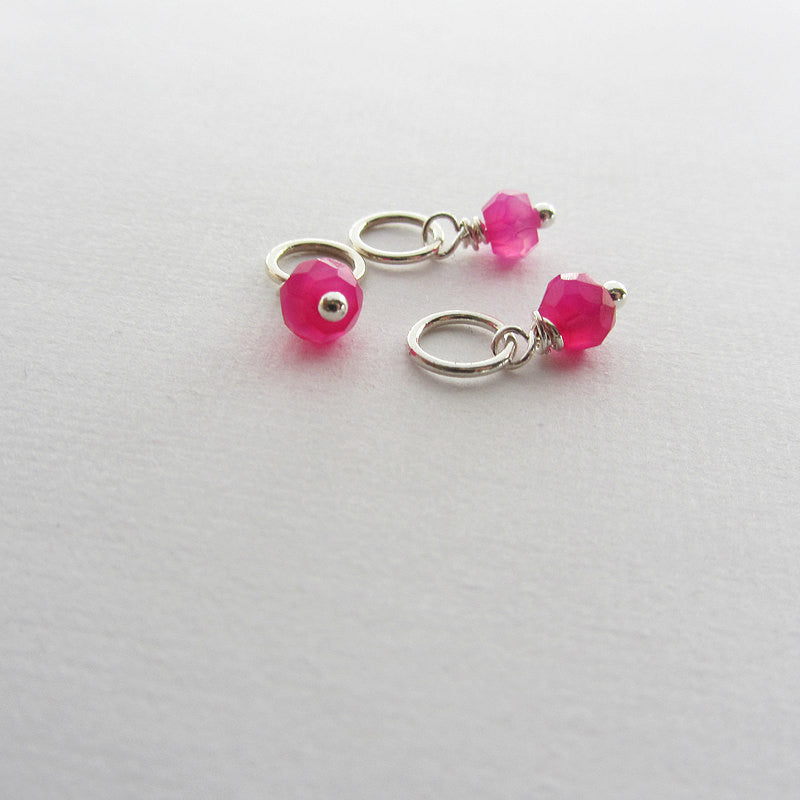 add a stone - Small Hot Pink Chalcedony Stone