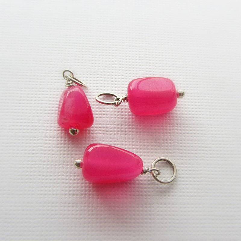 add a stone - Hot Pink Chalcedony Nugget Charm