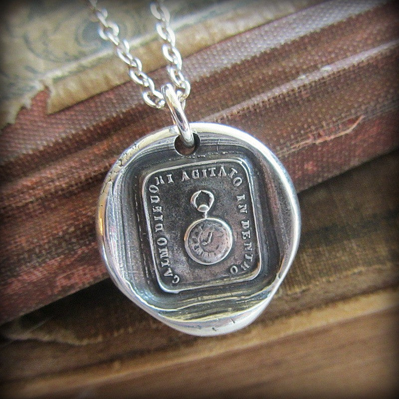 Pocket Watch Wax Seal Necklace - Calm on the Outside, Churning Within - Shannon Westmeyer Jewelry - 1