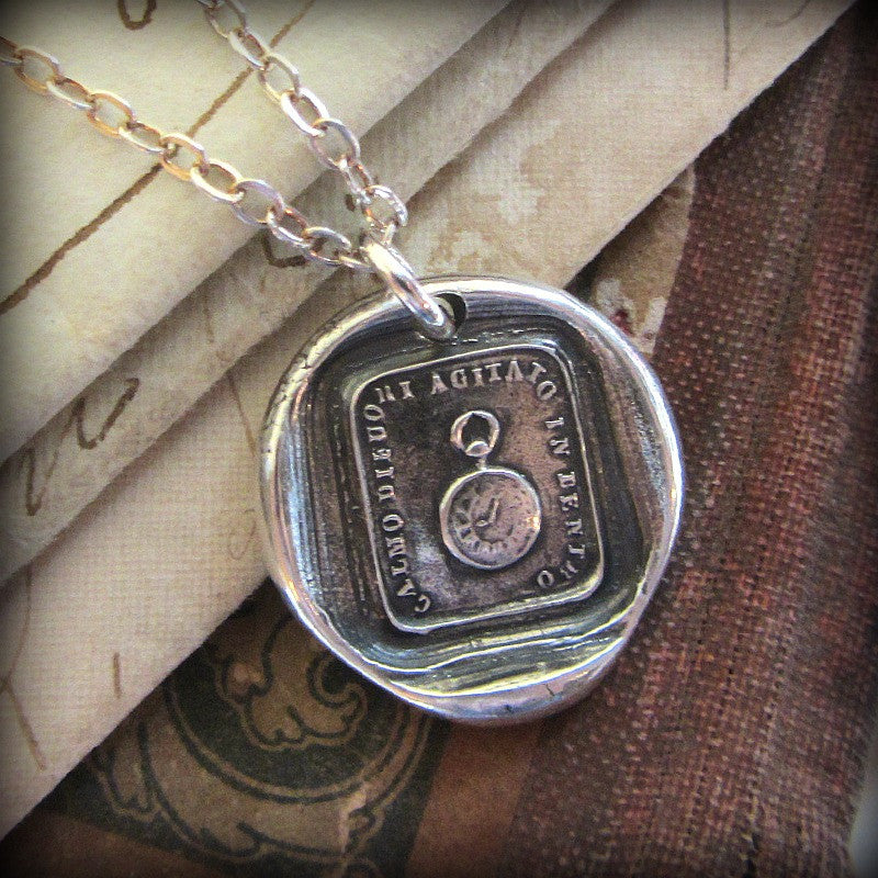 Pocket Watch Wax Seal Necklace - Calm on the Outside, Churning Within - Shannon Westmeyer Jewelry - 3