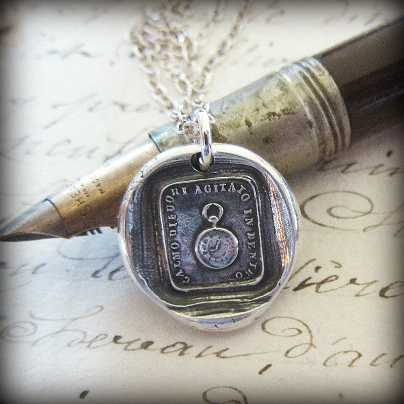 Pocket Watch Wax Seal Necklace - Calm on the Outside, Churning Within - Shannon Westmeyer Jewelry - 2