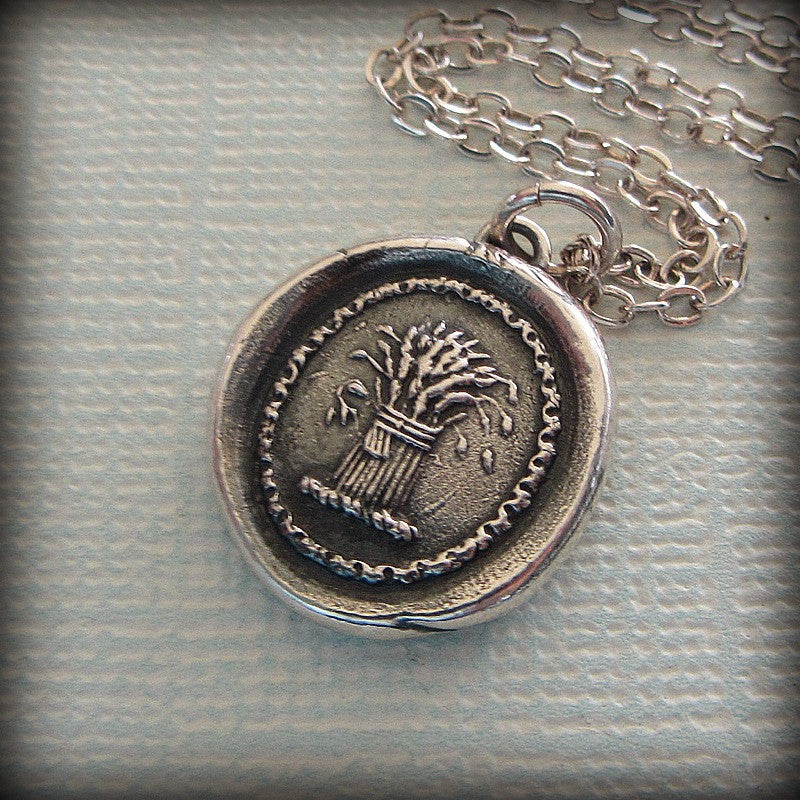 Prosperity Wax Seal Necklace - Wheat Sheaf - A symbol for prosperity, abundance and hope - Shannon Westmeyer Jewelry - 3