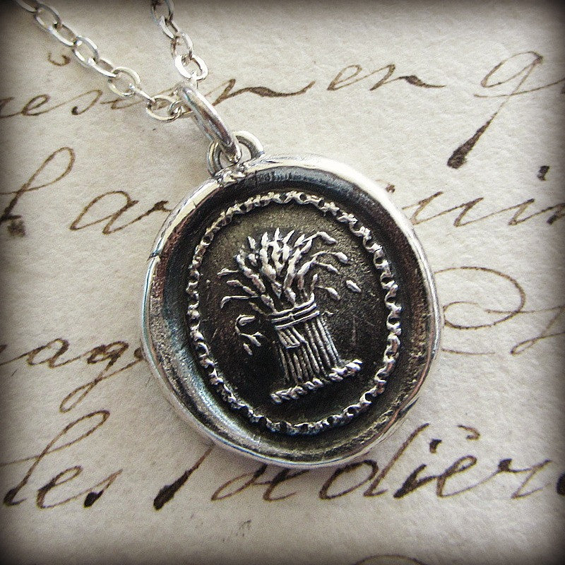 Prosperity Wax Seal Necklace - Wheat Sheaf - A symbol for prosperity, abundance and hope - Shannon Westmeyer Jewelry - 2
