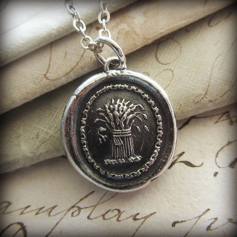 Prosperity Wax Seal Necklace - Wheat Sheaf - A symbol for prosperity, abundance and hope - Shannon Westmeyer Jewelry - 1