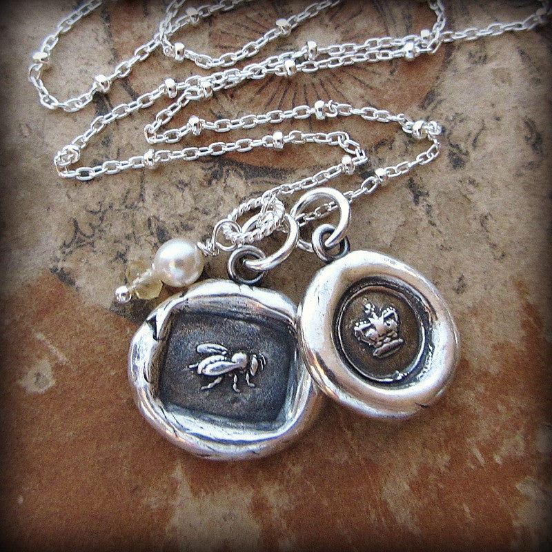 Queen Bee & Crown Wax Seal Charm Necklace - Shannon Westmeyer Jewelry - 2