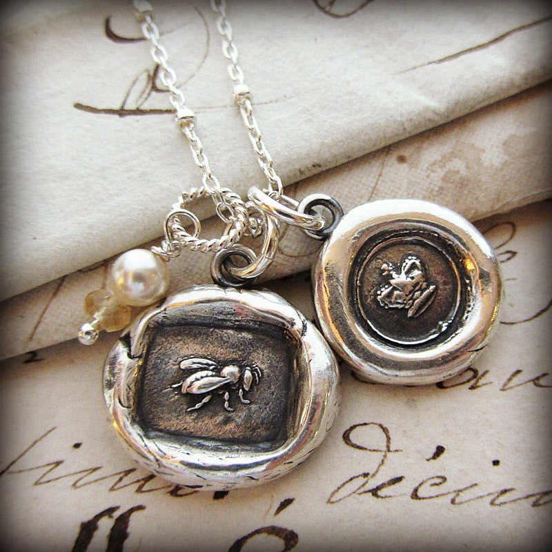 Queen Bee & Crown Wax Seal Charm Necklace - Shannon Westmeyer Jewelry - 1
