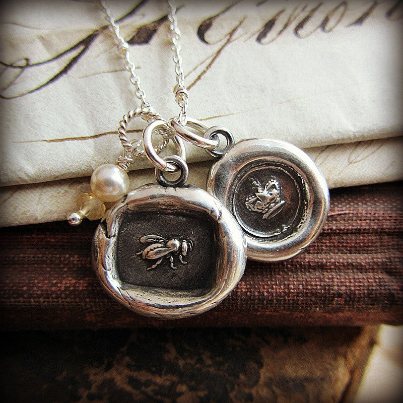 Queen Bee & Crown Wax Seal Charm Necklace - Shannon Westmeyer Jewelry - 4