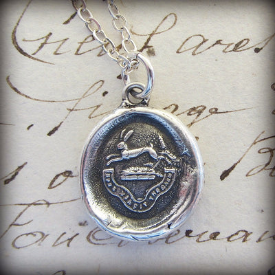 Hope Conquers All - Rabbit Wax Seal Crest Necklace - Hope & Inspiration - Shannon Westmeyer Jewelry - 3