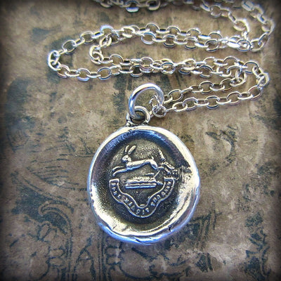 Hope Conquers All - Rabbit Wax Seal Crest Necklace - Hope & Inspiration - Shannon Westmeyer Jewelry - 2