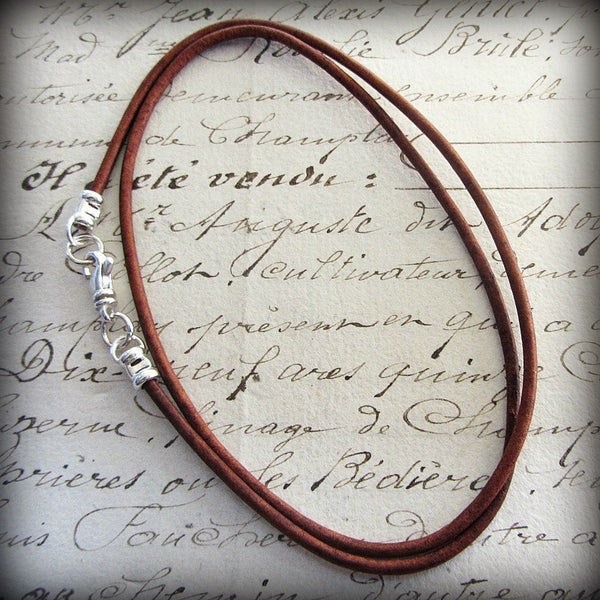 Leather Cord Necklace with Sterling Swivel Clasp - Distressed Red Brown - Shannon Westmeyer Jewelry - 1