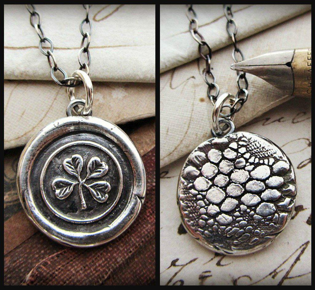 Four Leaf Clover with Reversible Antique Irish Lace Imprint - Shannon Westmeyer Jewelry - 1