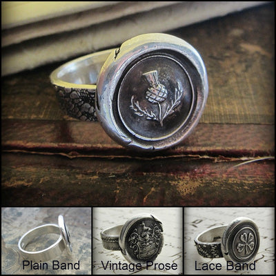 Four Leaf Clover Wax Seal Ring and color options.