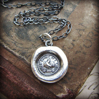 "Rooster ""While I Live I'll Crow"" Wax Seal Necklace - Courage and Perseverance - Shannon Westmeyer Jewelry - 3"