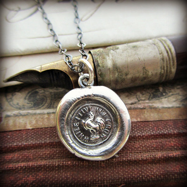 "Rooster ""While I Live I'll Crow"" Wax Seal Necklace - Courage and Perseverance - Shannon Westmeyer Jewelry - 1"