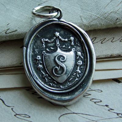 Wax Seal Monogram Initial S Necklace-Shannon Westmeyer Jewelry