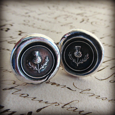 Scottish Thistle Wax Seal Cuff Links - Shannon Westmeyer Jewelry - 1