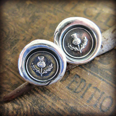 Scottish Thistle Wax Seal Cuff Links - Shannon Westmeyer Jewelry - 4