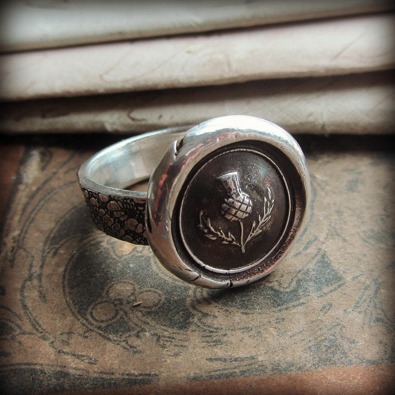 Scottish Thistle Wax Seal Ring