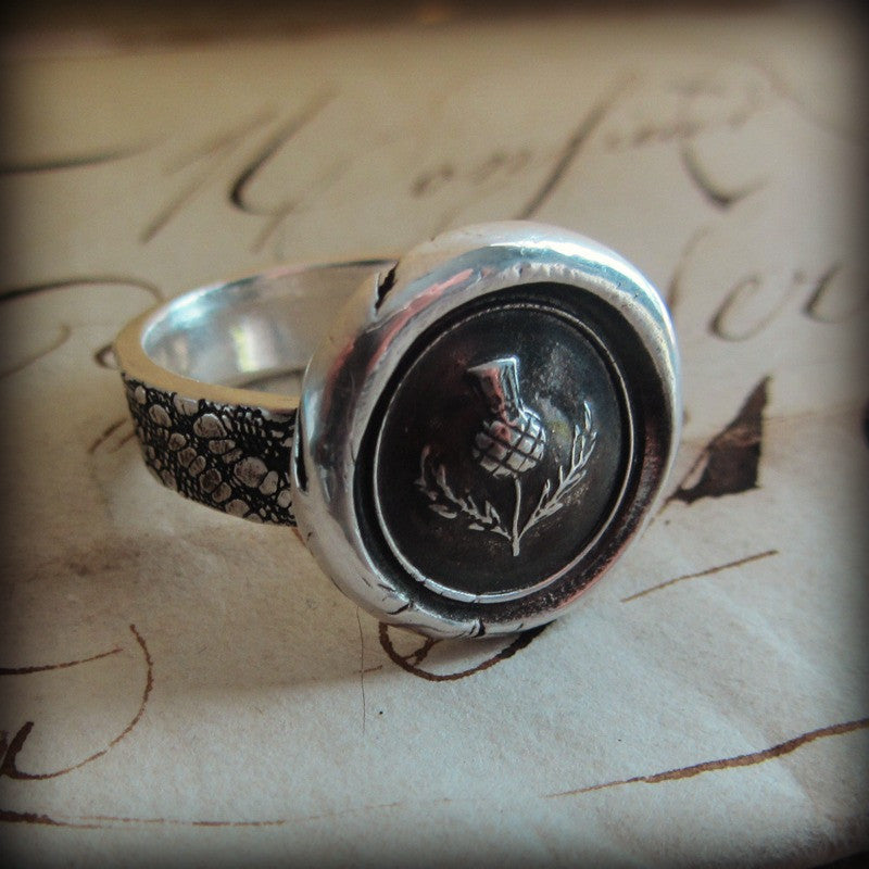 Scottish Thistle Wax Seal Ring - Shannon Westmeyer Jewelry - 3