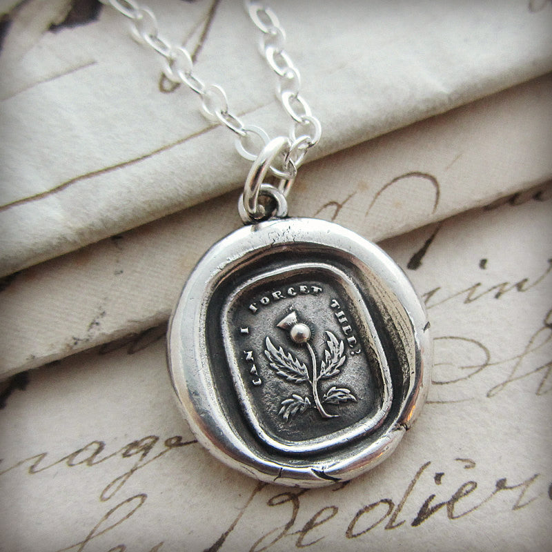 Thistle Wax Seal Necklace - Never Forget, Remember Me Always