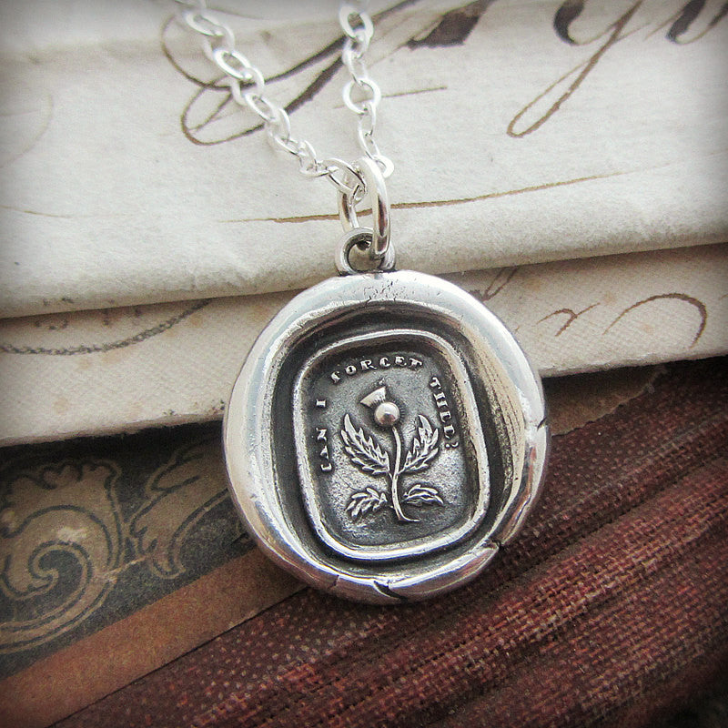 Thistle Wax Seal Necklace - Never Forget, Remember Me Always-Shannon Westmeyer Jewelry