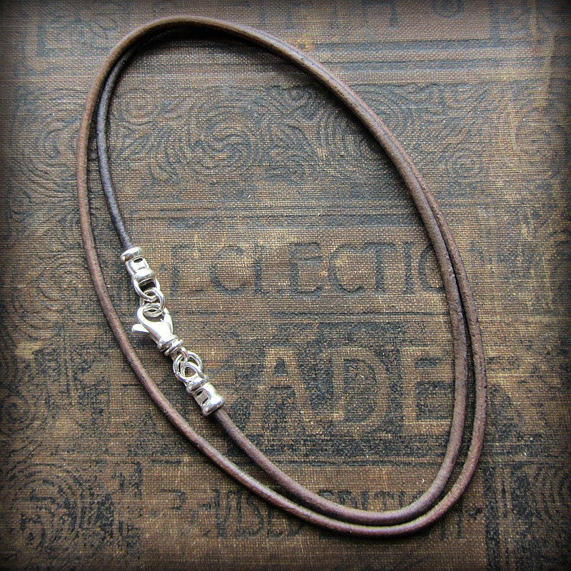 Leather Cord Necklace with Sterling Swivel Clasp - Distressed Sepia Grey Brown - Shannon Westmeyer Jewelry - 1