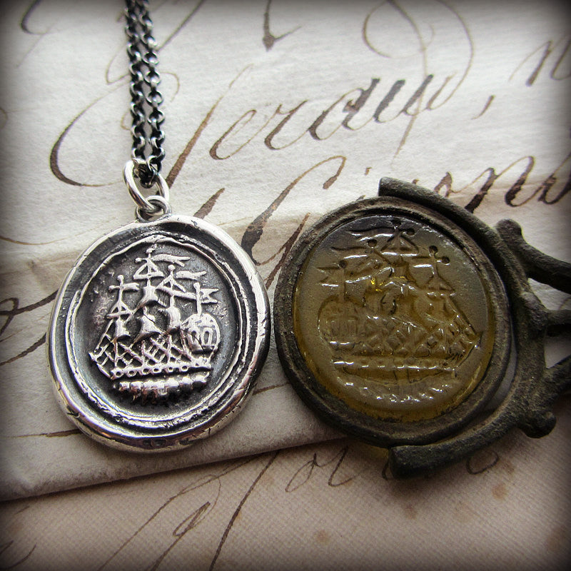 Ship Wax Seal Necklace - Joy, Happiness & Adventure - Shannon Westmeyer Jewelry - 1