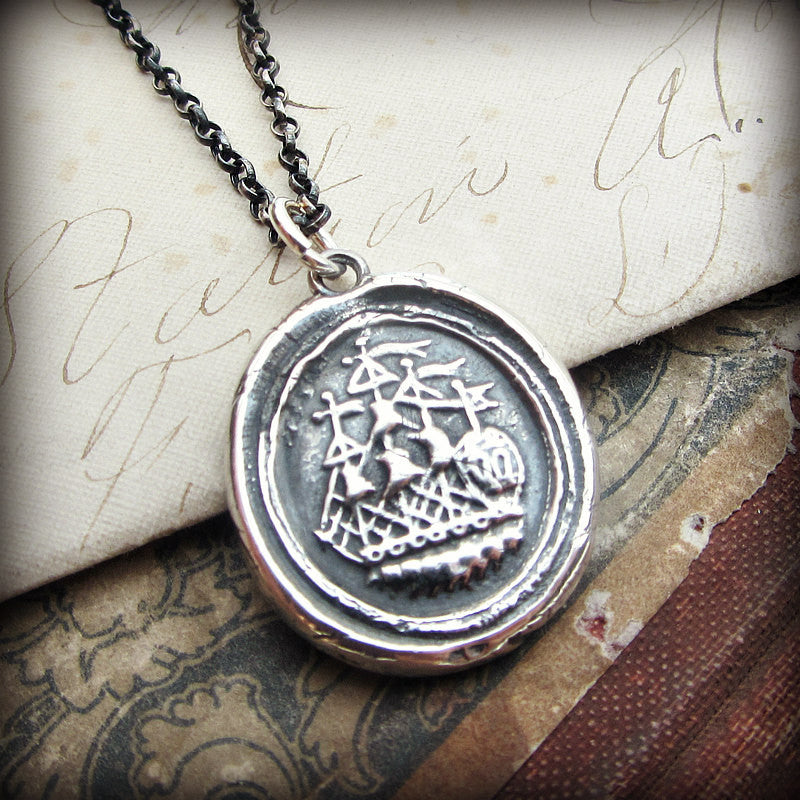 Ship Wax Seal Necklace - Joy, Happiness & Adventure - Shannon Westmeyer Jewelry - 3
