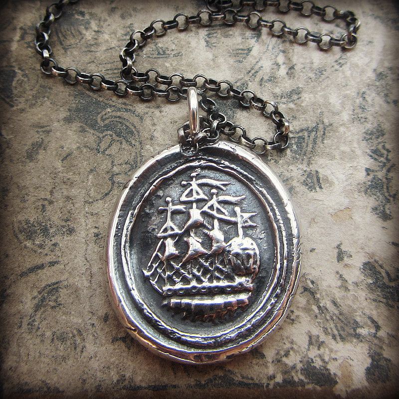 Ship Wax Seal Necklace - Joy, Happiness & Adventure - Shannon Westmeyer Jewelry - 4