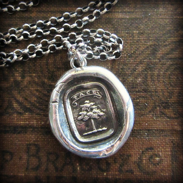 Tree Heraldic Crest Necklace - Strong and Silent - Silence is a Virtue - Shannon Westmeyer Jewelry - 1