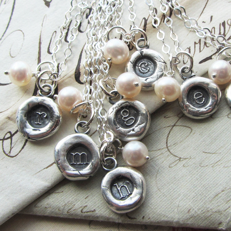 Silver Initial Wax Seal Necklace with Semiprecious Stone