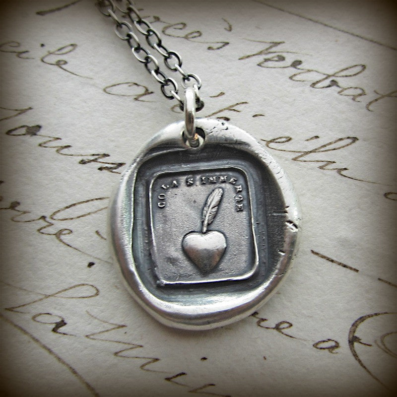 My Heart is Sincere - Heart & Quill Pen - Shannon Westmeyer Jewelry - 3