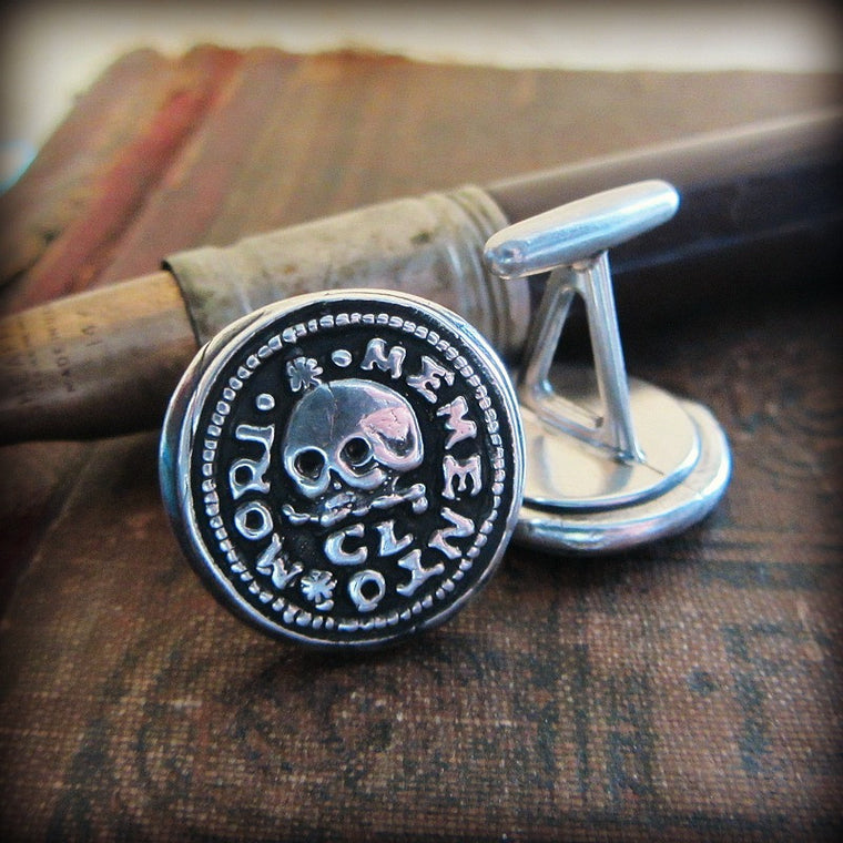 Skull Memento Mori Cuff Links - Shannon Westmeyer Jewelry - 1